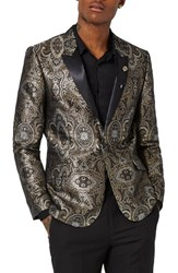 Topman Men's Skinny Fit Paisley Tuxedo Jacket Gold Multi