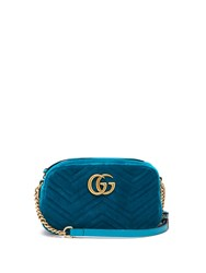 Gucci Gg Marmont Quilted Velvet Cross Body Bag Green