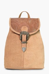 Boohoo Boutique Leather Buckle Detail Backpack Tan