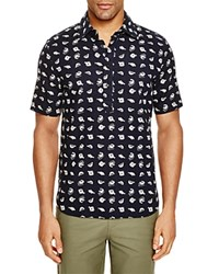 3X1 Fish Print Regular Fit Popover Shirt Oxprint