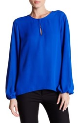 Ellen Tracy Split Neck Bishop Sleeve Blouse Blue
