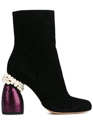 Dries Van Noten Pearl Embellished Ankle Boots Women Leather Suede 40.5 Black