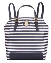 Tommy Hilfiger Honey Striped Backpack Tote Navy Cream