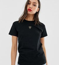 Asos Design Tall T Shirt With Triangle Logo In Metallic Embroidery Black