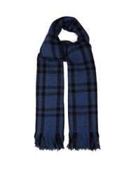 Denis Colomb Nara Checked Cashmere Scarf Blue