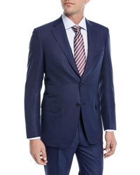 Brioni Solid Box Weave Wool Two Piece Suit Blue