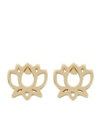 Harrods Gold Plated Lotus Flower Stud Earrings