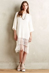 Anthropologie Fringed Sweater Dress Cream