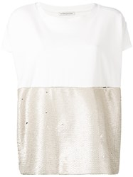 Stefano Mortari Light Gold Sequin Top White