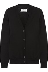 Maison Martin Margiela Leather Trimmed Cotton And Wool Blend Cardigan Black