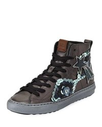 Coach C216 Star Sequin High Top Sneaker Gunmetal