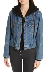 Alice Olivia Rumor Combo Hoodie And Denim Jacket Vintage Wash Black
