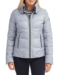 Guess Zipper Front Down Jacket Silver