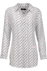 Equipment Kate Moss Reese Printed Washed Silk Shirt White