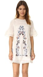 Free People Perfectly Victorian Embroidered Mini Dress Cream