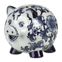 Pols Potten Porcelain Piggy Bank Blue White Piggy