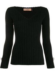 Coliac V Neck Ribbed Top Black