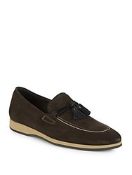 Canali Suede Driver Loafers Brown