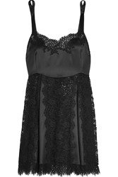 Dolce And Gabbana Lace And Silk Blend Satin Chemise Black