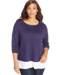 Inc International Concepts Plus Size Long Sleeve Knit Layered Top