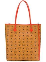 Mcm Logo Pattern Shopping Bag Brown