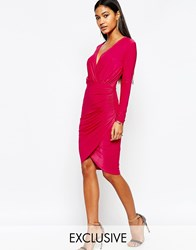 Club L Wrap Front Assymetric Skirt Detail Midi Dress Pink