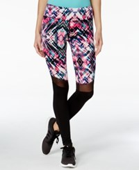 Material Girl Active Printed Mesh Inset Leggings Only At Macy's Floral Stroke
