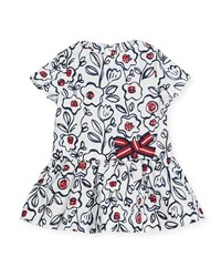 Petit Bateau Short Sleeve Cotton Floral Dress Size 3 36 Months Multi