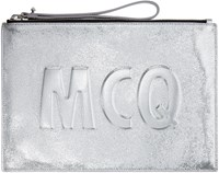 Mcq By Alexander Mcqueen Silver Leather Logo Pouch