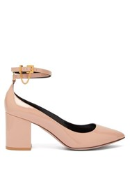 Valentino Chain Embellished Pantent Leather Pumps Nude