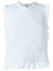 T By Alexander Wang Frayed Woven Top Blue