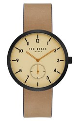 Ted Baker Men's London Josh Leather Strap Watch 42Mm Beige Dark Brown