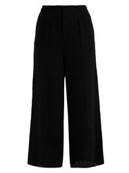 Roland Mouret Broadgate Wide Leg Open Weave Cotton Trousers Black