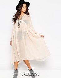 Reclaimed Vintage Angel Maxi Sheer Shirt Dress Cream