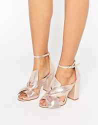Miss Selfridge Metallic Bow Front Heeled Sandal Rose Gold Pink