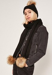 Missguided Faux Fur Pom Pom Hat And Scarf Set Black