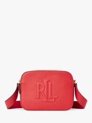 Ralph Lauren Trapunto Logo Leather Cross Body Bag Red