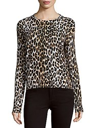 Equipment Shirley Long Sleeve Leopard Printed Knit Top Natural
