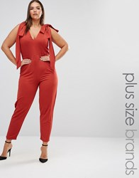 Pink Clove Sleeveless Plunge Jumpsuit With Bow Detail Red