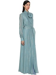 Luisa Beccaria Lame Georgette Chemisier Long Dress Light Blue