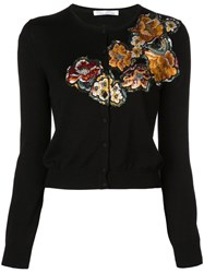 Oscar De La Renta Embroidered Long Sleeve Cardigan Black