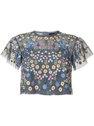 Needle And Thread Floral Embroidered Blouse Blue