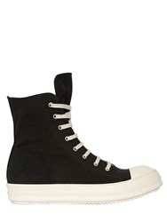Rick Owens Cotton Blend Canvas High Top Sneakers