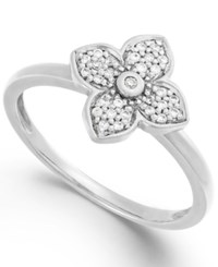 Macy's Diamond Flower Ring In 10K White Yellow Or Rose Gold 1 10 Ct. T.W.