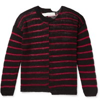 Isabel Benenato Oversized Distressed Striped Linen Sweater Multi