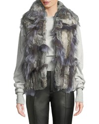 Adrienne Landau Short Patchwork Fur Vest Natural Gray