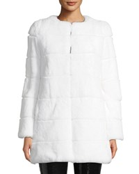 Alice Olivia Rory Rabbit Fur Collarless Coat Off White