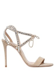 Casadei 100Mm Swarovski Suede Sandals