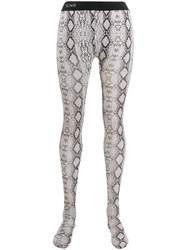 Laneus Snakeskin Print Tights Neutrals