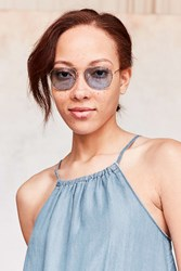 Urban Outfitters Far Out Translucent Metal Aviator Sunglasses Blue